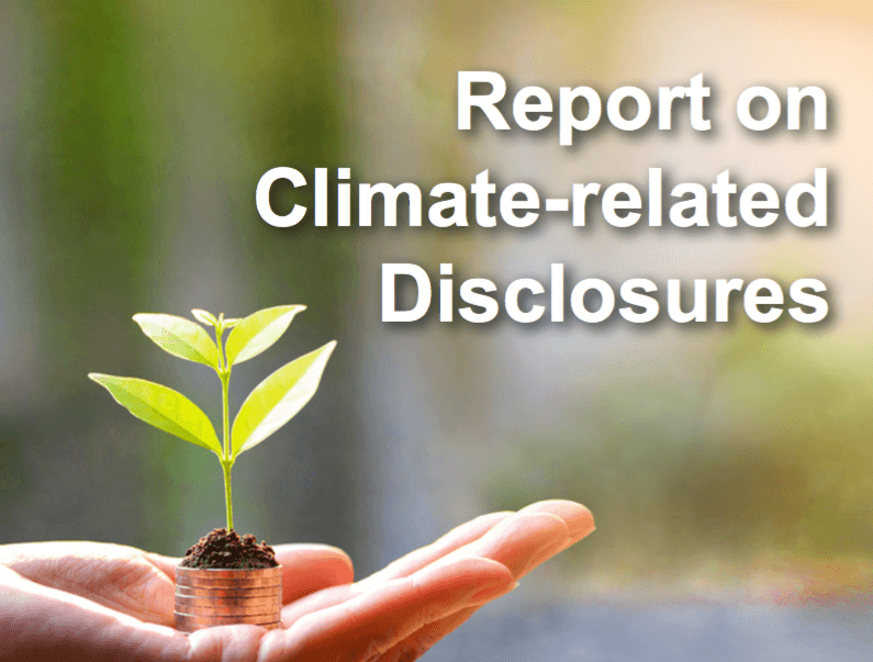 Sustainable Finance Report on climate related disclosures