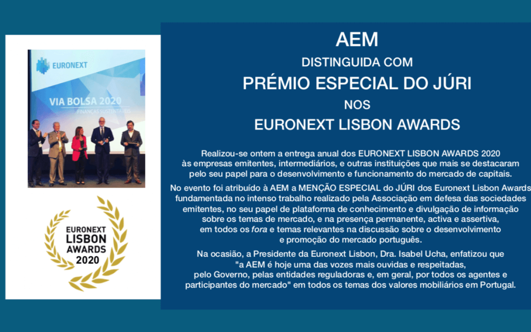 AEM DISTINGUIDA COM PRÉMIO ESPECIAL DO JÚRI NOS EURONEXT LISBON AWARDS