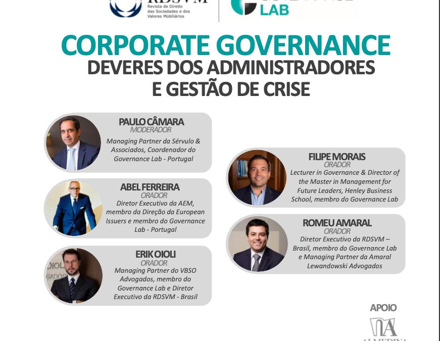 DEVERES DOS ADMINISTRADORES E GESTÃO DE CRISE – CORPORATE GOVERNANCE WEBINAR
